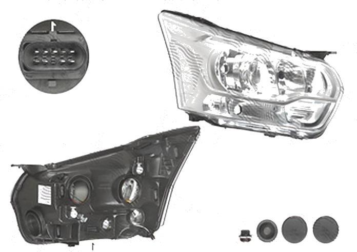Far Ford Transit, 01.2014-05.2016, fata, Dreapta, cu daytime running light; H15+H7+PY21W+W5W; electric; silver, BestAutoVest