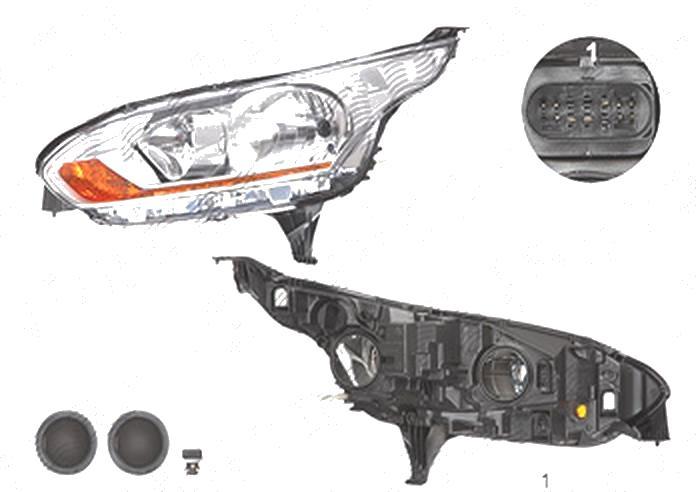 Far Ford Transit/Tourneo Connect, 03.2013-09.2015, fata, Stanga, cu daytime running light; H15+H7+PW24W+W5W; electric; silver, semnalizare portocalie; cu motor, DEPO