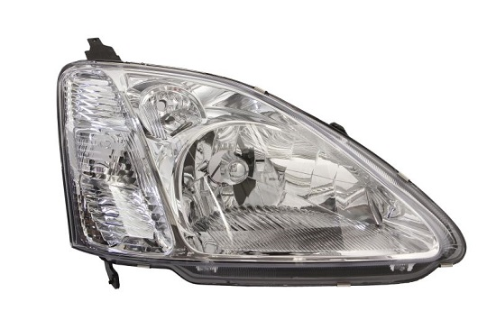Far Honda Civic (Ep/Eu/Ev) 3/5-D Hb (Eu), 02.2001-12.2003, fata, Dreapta, H4; electric; rama reflector argintie; cu motor, DEPO