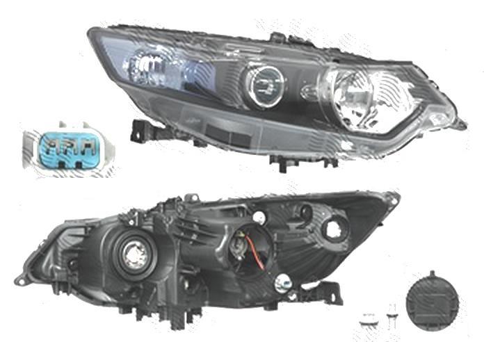 Far Honda Accord (Cu2), 03.2008-03.2011, fata, Dreapta, versiune europeana, H1+HB3; electric; semnalizare alba; fara motoras, DEPO