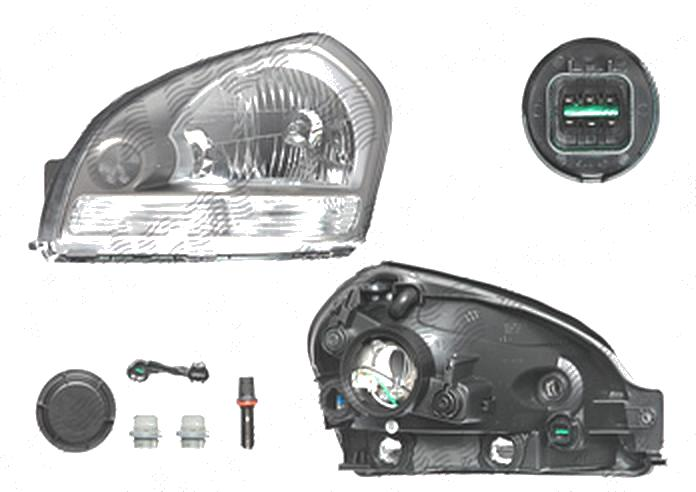 Far Hyundai Tucson (Jm), 06.2004-10.2009, fata, Stanga, H4; electric; semnalizare alba, grey reflector rim; fara motoras, DEPO