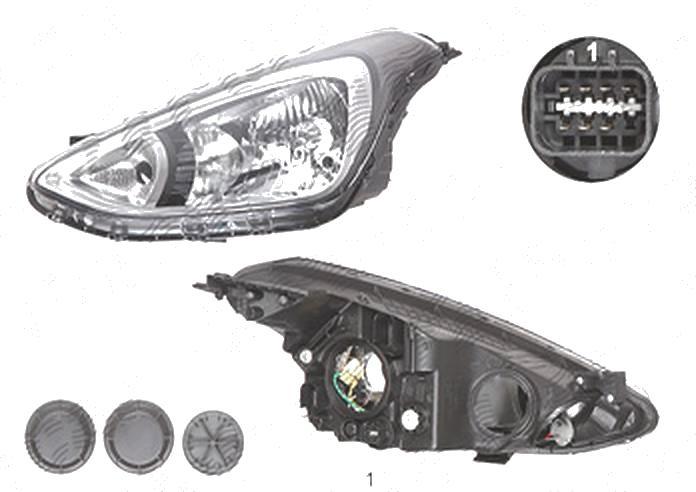 Far Hyundai I10 (Ba), 01.2014-, fata, Stanga, H4+PY21W+W5W; electric; fara motoras, DEPO