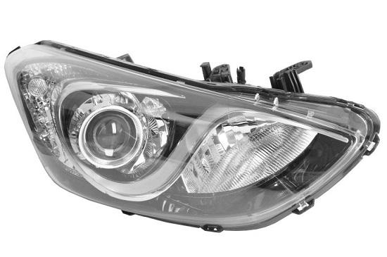 Far Hyundai I30 (Gd), 03.2012-03.2017, fata, Dreapta, cu lumini de curbe; H7+H7+H7+PY21W+W5W; electric; cu motor;