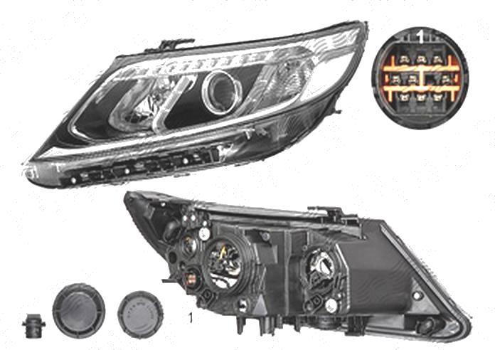 Far Kia Sorento (Xm), 10.2012-12.2014, fata, Stanga, cu LED daytime running light; H7+H7+PY21W; electric; fara motoras;