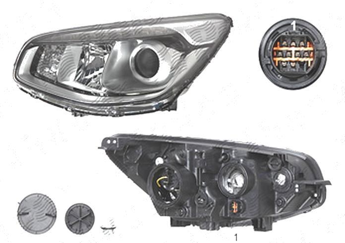 Far Kia Soul (Am), 07.2013-, fata, Stanga, lense; cu LED daytime running light; H7+H7+PY21W; electric; fara motoras, DEPO