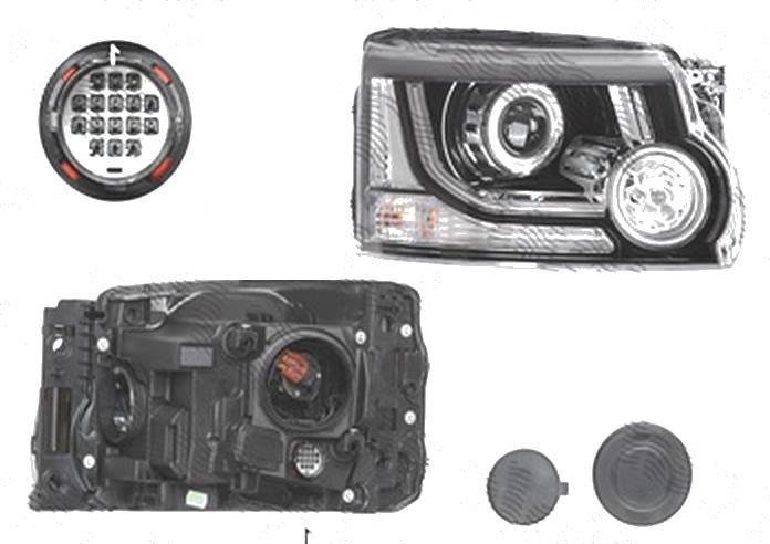 Far Land Rover Discarcasay/Lr4 (Taa), 2013-12.2016, fata, Dreapta, cu daytime running light; HiR2; electric; cu becuri, VALEO