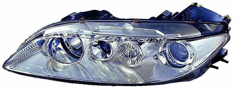 Far Mazda 6 (Gg/Gy), 06.2002-04.2005, fata, Stanga, H1+H1; electric; rama reflector argintie; cu motor, DEPO