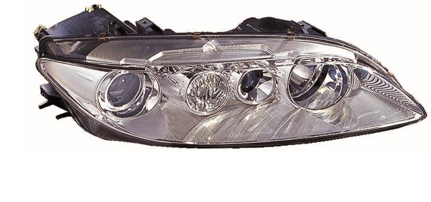 Far Mazda 6 (Gg/Gy), 06.2002-04.2005, fata, Dreapta, H1+H1; electric; rama reflector argintie; cu motor, DEPO