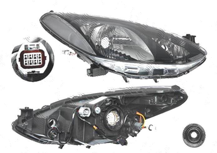 Far Mazda 2 (De), 11.2007-10.2010, fata, Dreapta, H4+PY21W+W5W; electric; cu motor; cu cablaje, DEPO