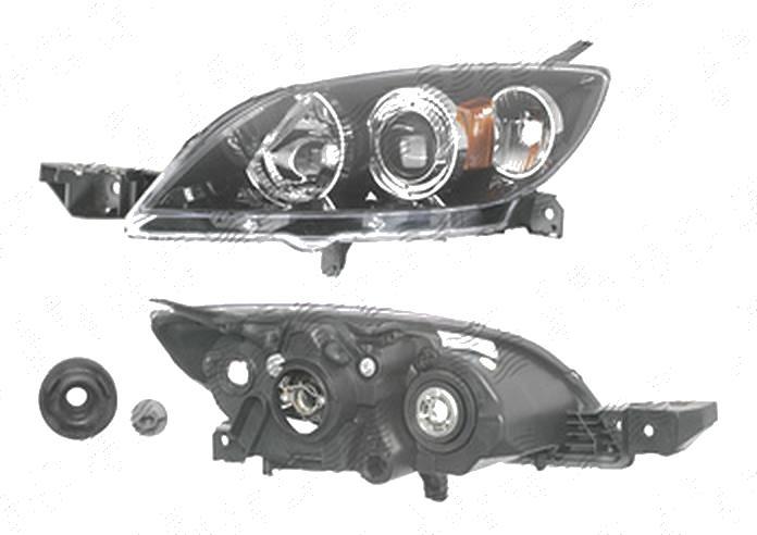 Far Mazda 3 (Bk), 10.2003-07.2009, fata, Stanga, Hatchback, H7+HB3; electric; negru; fara motoras, DEPO
