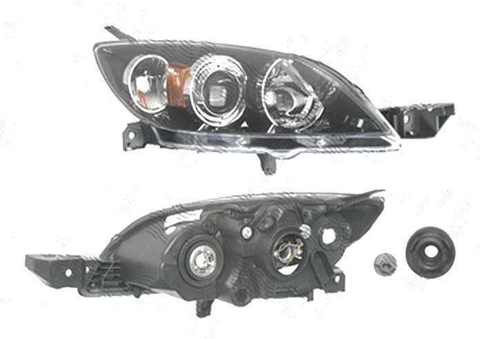 Far Mazda 3 (Bk), 10.2003-07.2009, fata, Dreapta, Hatchback, H7+HB3; electric; negru; fara motoras, DEPO