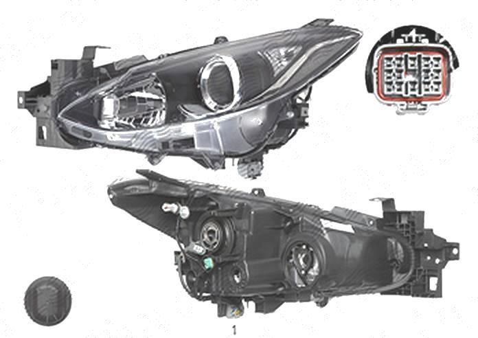 Far Mazda 3 (Bm), 06.2013-, fata, Stanga, cu daytime running light; H11+H15+W5W; electric; fara motoras, TYC