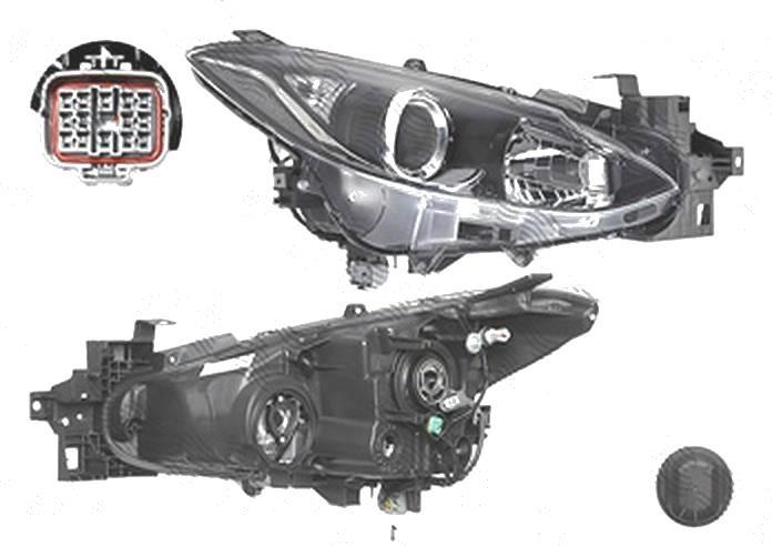 Far Mazda 3 (Bm), 06.2013-, fata, Dreapta, cu daytime running light; H11+H15+W5W; electric; fara motoras, TYC
