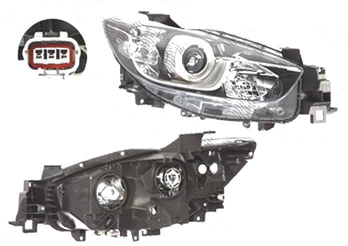 Far Mazda Cx-5 (Ke), 03.2012-, fata, Dreapta, versiune europeana, cu daytime running light; H11+H15+PY21W+W5W; electric; fara motoras, TYC