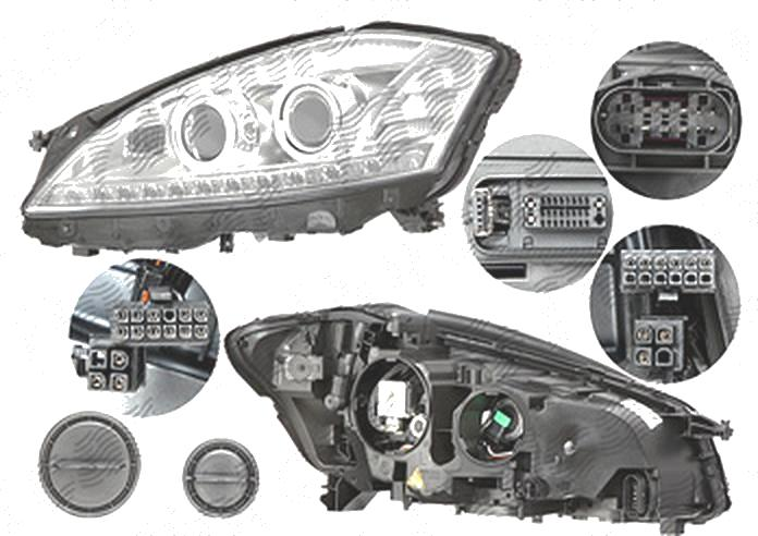 Far Mercedes Clasa S (W221), 06.2009-09.2013, fata, Stanga, bi-xenon; cu lumini de curbe; D1S+H11; electric; fara motoras; cu gas bec xenon, AL (Automotive Lighting)