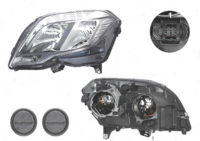 "Far Mercedes Clasa Glk (X204), 05.2012-, fata, Stanga, fara ""Mercedes Benz"" inscription; cu daytime running light; H15+H7+PWY24W; electric; cu motor; TYC"