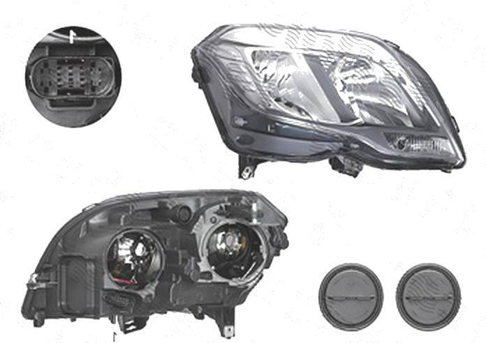 """Far Mercedes Clasa Glk (X204), 05.2012-, fata, Dreapta, fara """"Mercedes Benz"""" inscription; cu daytime running light; H15+H7+PWY24W; electric; cu motor; TYC"""