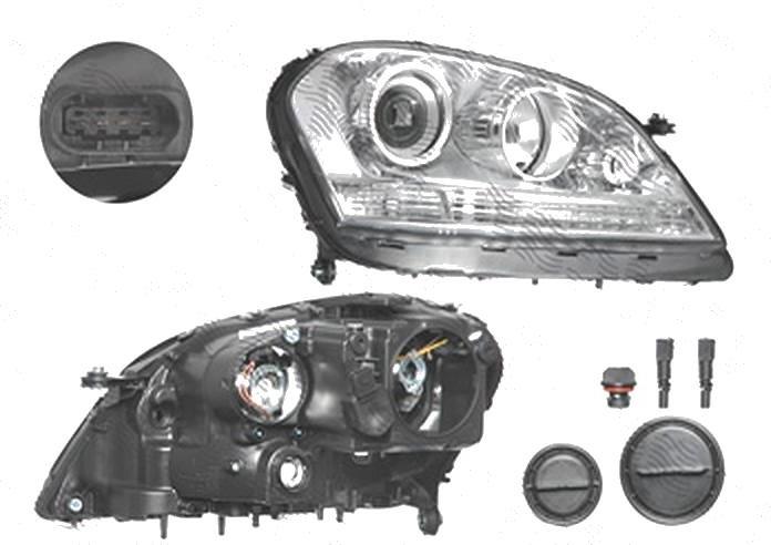 Far Mercedes Clasa Ml (W164), 07.2005-06.2008, fata, Dreapta, H7+H7+H7+PY21W+W5W+WY5W; electric; cu motor, DEPO