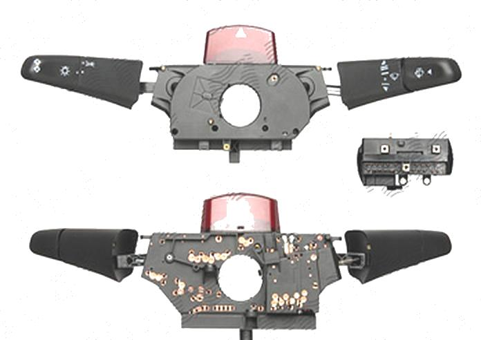 Comutator volan directie, bloc lumini Vw Lt 2 05.96-12.05 , Mercedes Sprinter 208-416, 01.95-2006, Vito / Clasa 5 (W638), 02.1996-01.2003 Bus, Stanga+Dreapta, lumini; semnalizare; stergatoare parbiz; spalator parbriz; cu buton avarie (buton mare)