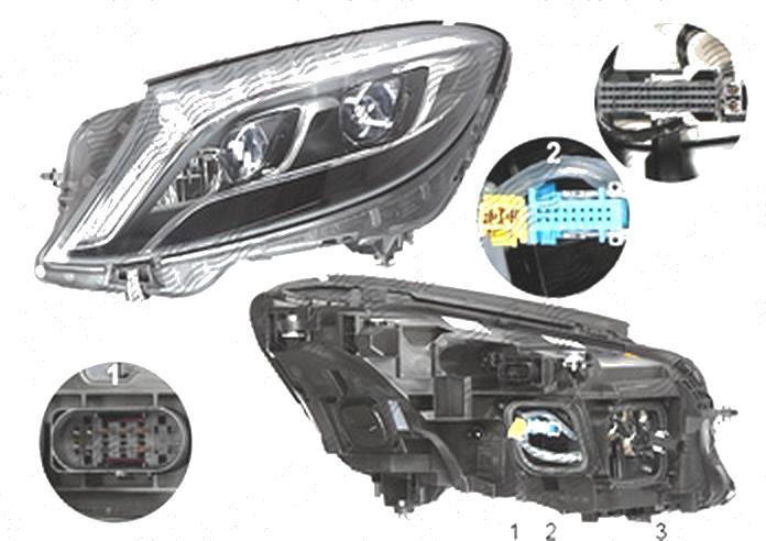 Far Mercedes Clasa S (W222), 08.2013-, fata, Stanga, cu lumini pentru curbe; cu infrared system; LED; electric; fara motoras; fara levelling control unit;