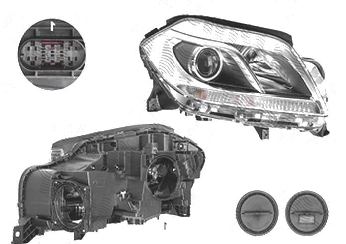 Far Mercedes Clasa Gl (X166), 06.2012-, fata, Dreapta, H7+H7+W5W; electric, AL (Automotive Lighting)