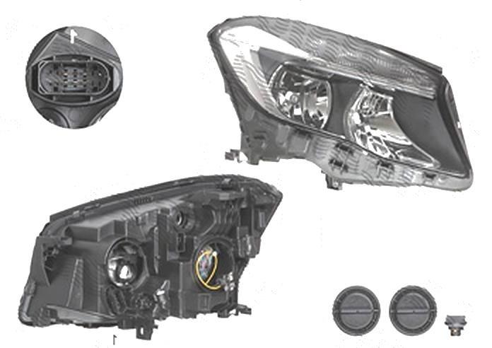 Far Mercedes Clasa Gla (X156), 12.2013-, fata, Dreapta, H15+H7+PY21W; electric; cu motor, DEPO