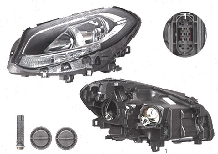 Far Mercedes Clasa B (W246), 09.2014-, fata, Stanga, cu LED daytime running light; H7+H7+LED+PY21W; electric; cu motor;