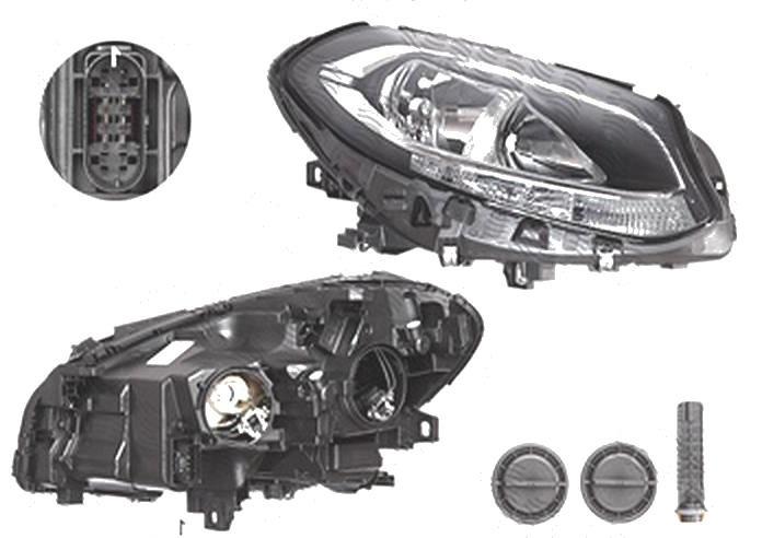 Far Mercedes Clasa B (W246), 09.2014-, fata, Dreapta, cu LED daytime running light; H7+H7+LED+PY21W; electric; cu motor;