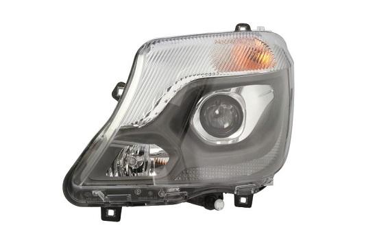 Far Mercedes Sprinter 210-519, 10.2013-, fata, Stanga, bi-xenon; cu lumini pentru curbe; cu LED daytime running light; D3S+H7+LED+PY21W; electric; cu gas bec xenon; cu ballast; cu motor; cu becuri, HELLA