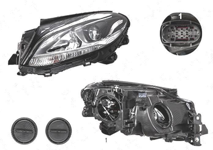 Far Mercedes Clasa Gle (W166), 08.2015-, fata, Stanga, cu LED daytime running light; H7+H7; electric; cu motor; cu becuri;