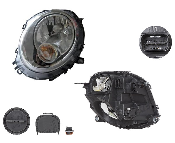 Far Mini One/Cooper/Clubman/Clubvan/Coupe/Roadster/Cabrio (R56/57/58/59), 07.2007-, fata, Stanga, H4+P21W; electric; semnalizare alba; cu motor, DEPO