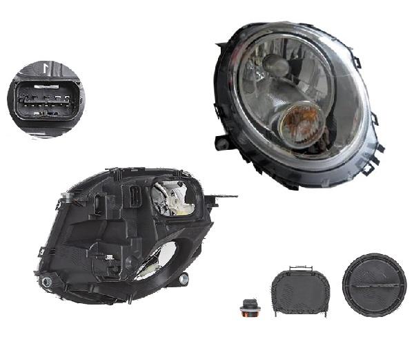 Far Mini One/Cooper/Clubman/Clubvan/Coupe/Roadster/Cabrio (R56/57/58/59), 07.2007-, fata, Dreapta, H4+P21W; electric; semnalizare alba; cu motor, DEPO