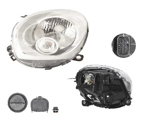 Far Mini Paceman (R61), 03.2013-; Countryman (R60), 08.2010-, fata, Stanga, H4+P21W; electric; semnalizare alba; cu motor, DEPO
