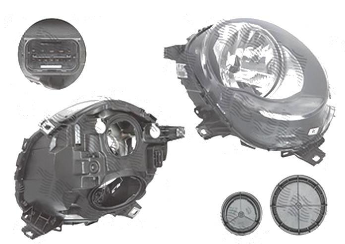 """Far Mini One/Cooper/S, 02.2014-, fata, Dreapta, fara """"Mini"""" inscription; H4+PWY24W; electric; semnalizare alba; cu motor; TYC"""