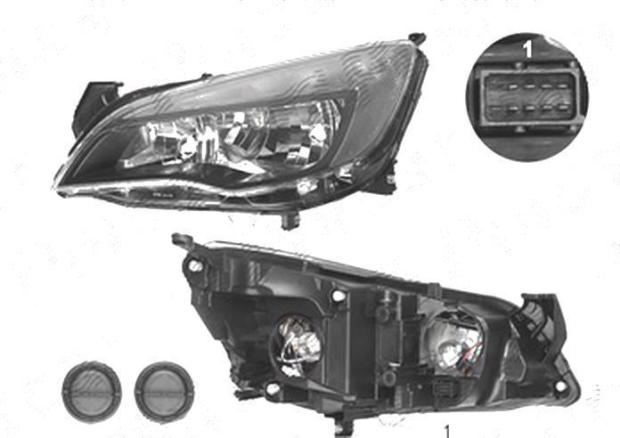 Far Opel Astra J, 01.2013-, fata, Stanga, 5 usi, SEDAN, Sports Tourer, cu LED daytime running light; H7+H7+LED; electric; negru; cu motor;