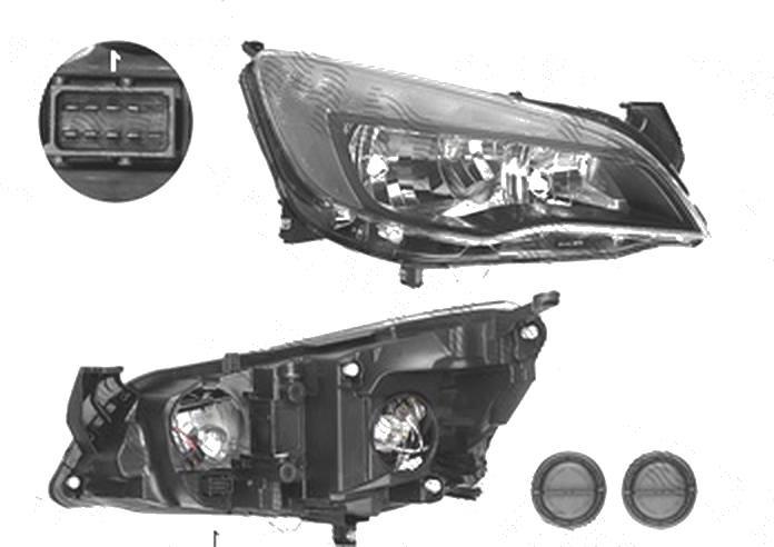 Far Opel Astra J, 01.2013-, fata, Dreapta, 5 usi, SEDAN, Sports Tourer, cu LED daytime running light; H7+H7+LED; electric; negru; cu motor;