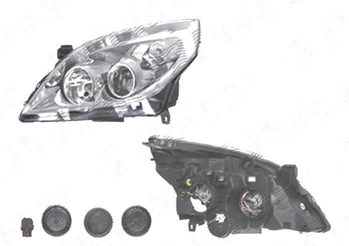 Far Opel Vectra C, 09.2005-09.2008; Signum, 09.2005-08.2008, fata, Stanga, H1+H7; electric; rama reflector argintie; fara motoras, DEPO