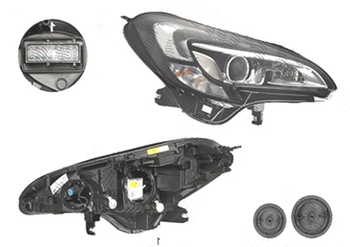 Far Opel Corsa E, 11.2014-, fata, Dreapta, xenon; cu lumini pentru curbe; cu LED daytime running light; D5S+H11+LED+PSY24W; electric, HELLA