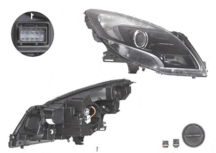 Far Opel Zafira Tourer, 01.2012-, fata, Dreapta, HiR2+PY21W+W21/5W; electric; negru; cu motor, DEPO