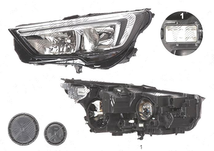 Far Opel Crossland X, 03.2017-, fata, Stanga, cu LED daytime running light; H7+H7; electric; cu motor; cu becuri;
