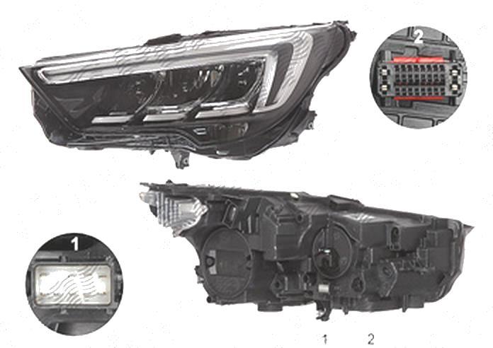 Far Opel Crossland X, 03.2017-, fata, Stanga, cu LED daytime running light; LED; electric; fara LED controlling unit; cu motor;