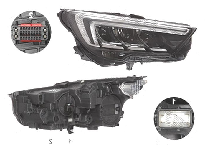 Far Opel Crossland X, 03.2017-, fata, Dreapta, cu LED daytime running light; LED; electric; fara LED controlling unit; cu motor;