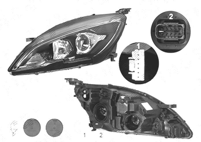 Far Peugeot 308, 10.2017-, fata, Stanga, cu LED daytime running light; H7+HY21W+LED; electric; fara daytime running light LED module; cu motor; cu becuri;