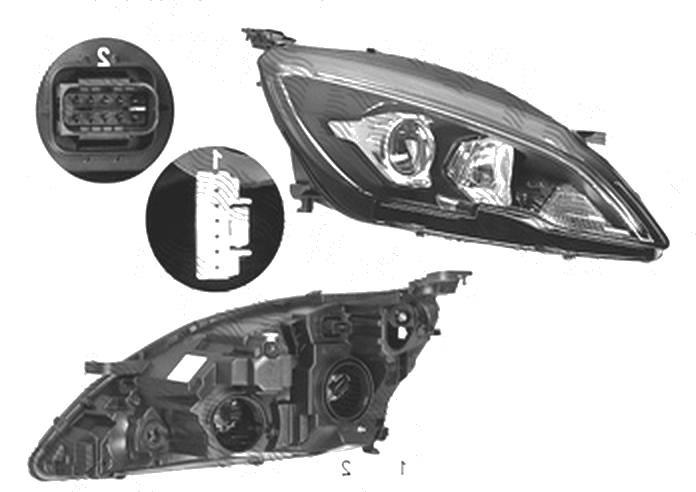 Far Peugeot 308, 10.2017-, fata, Dreapta, cu LED daytime running light; H7+HY21W+LED; electric; fara daytime running light LED module; cu motor; cu becuri;