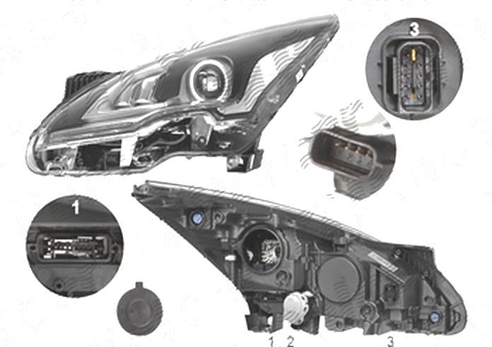 Far Peugeot 3008, 09.2013-09.2016; 5008, 09.2013-, fata, Stanga, bi-xenon; D1S+LED; electric; fara unitate control; fara ballast, VALEO