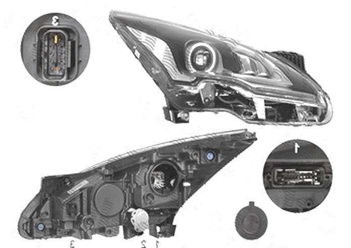 Far Peugeot 3008, 09.2013-09.2016; 5008, 09.2013-, fata, Dreapta, bi-xenon; D1S+LED; electric; fara unitate control; fara ballast, VALEO