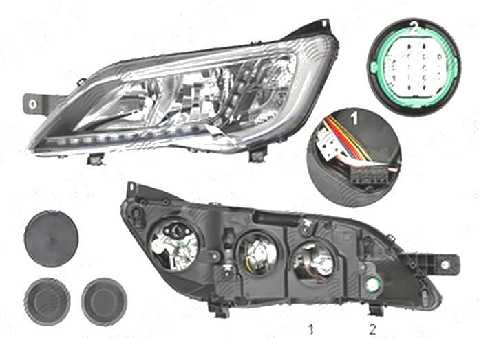 Far Citroen Jumper, 06.2014-; Fiat Ducato, 06.2014-; Peugeot Boxer, 06.2014-, fata, Stanga, cu LED daytime running light; H7+H7+LED+WY21W; electric; silver; fara LED controlling unit; cu motor;