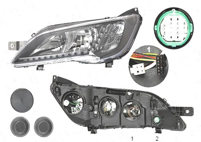 Far Citroen Jumper, 06.2014-; Fiat Ducato, 06.2014-; Peugeot Boxer, 06.2014-, fata, Stanga, cu LED daytime running light; H7+H7+WY21W; electric; negru; fara LED controlling unit; cu motor;
