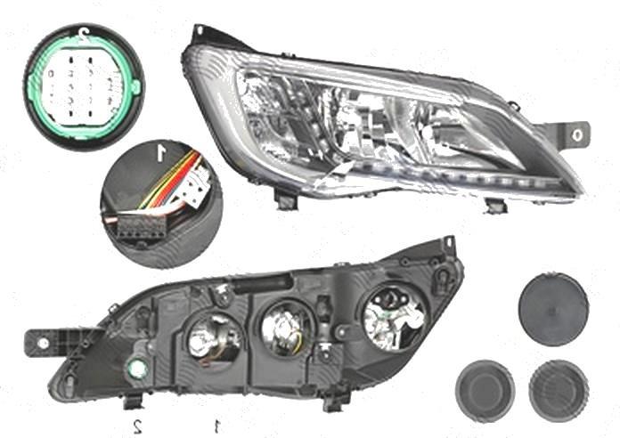 Far Citroen Jumper, 06.2014-; Fiat Ducato, 06.2014-; Peugeot Boxer, 06.2014-, fata, Dreapta, cu LED daytime running light; H7+H7+LED+WY21W; electric; silver; fara LED controlling unit; cu motor;