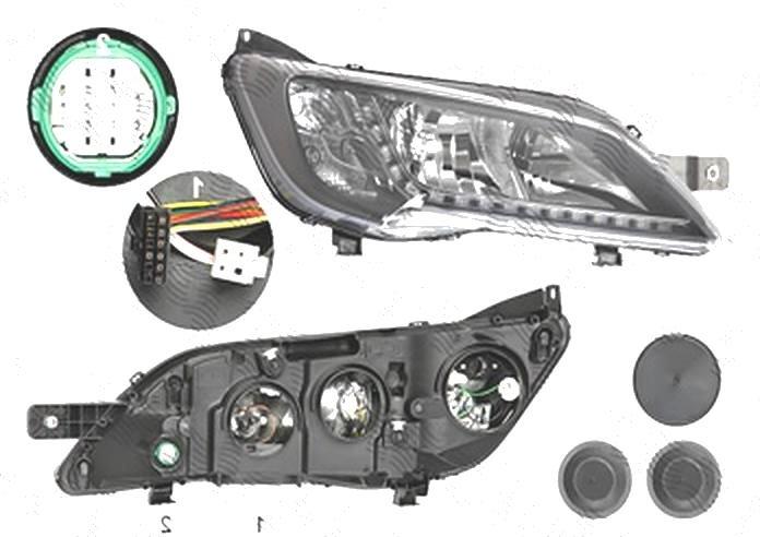 Far Citroen Jumper, 06.2014-; Fiat Ducato, 06.2014-; Peugeot Boxer, 06.2014-, fata, Dreapta, cu LED daytime running light; H7+H7+WY21W; electric; negru; fara LED controlling unit; cu motor;
